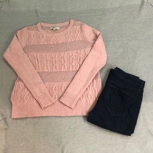 LOFT pink cable stitch sweater S